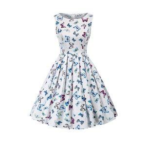 Butterfly-A Boatneck Vintage Tea Belted Dress